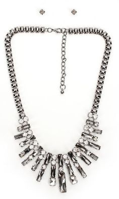 black diamond stones fashion necklace and earring set