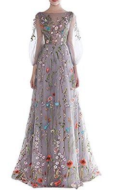 Dobelove Women's Long Sleeves Floral Embroidery A-line Evening Dress