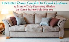 Declutter under the couch and in between the couch cushions mission {15 minute mission from Home Storage Solutions 101, part of the Declutter 365 Challenges}