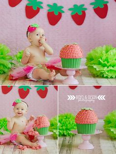 #boydandolsonphotography strawberry theme smash cake https://www.facebook.com/BoydandOlsonPhotographyLLC