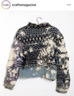 Wow! Beautifully mended sweater. Thank you craftsmagazine. Riot Grrrl, Textiles, Visible Mending, Make Do And Mend, Darning, Grunge Style, Refashion, Pulls, Textile Design