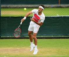 Roger Federer of Switzerland during a pratice session prior to the Wimbledon Lawn Tennis Championships at the All England Lawn Tennis and Croquet Club at Wimbledon on June 28, 2015 in London, England.