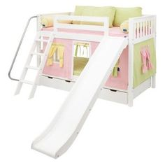 Laugh Girl Twin over Twin Slat Slide Tent Bunk Bed- Love