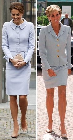 channeled Princess in a pale blue Catherine Walker skirt suit for her first solo foreign visit. On October 11 she visited the Netherlands; met King Willem-Alexander and saw the Mauritshuis gallery. Kate Middleton Stil, Estilo Kate Middleton, Princess Kate Middleton, Princess Diana Fashion, Princess Diana Photos, Princes Diana, Pantyhosed Legs, Royal Clothing, Moda Vintage