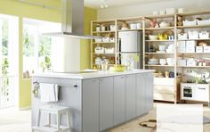 Veddinge doors from IKEA? Modern grey kitchen with VEDDINGE fronts and kitchen island Grey Ikea Kitchen, Modern Grey Kitchen, Ikea Kitchen Design, Grey Kitchens, New Kitchen, Kitchen Storage, Home Kitchens, Kitchen Ideas, Mini Kitchen