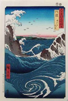 "Hiroshige (1797-1858)  Title""The Whirlpools of Awa at Naruto"""