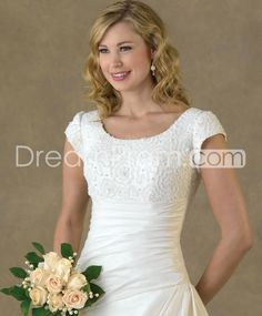 Pretty A-line/Princess Short-Sleeve Scoop Floor-Length Chapel Beaded Wedding Dresses  $205