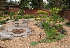 Landscape Design for Sloped Backyard . Landscape Design for Sloped Backyard . Pea Gravel Patio, Gravel Landscaping, No Grass Backyard, Sloped Backyard, Large Backyard, Small Backyard Landscaping, Fire Pit Backyard, Flagstone Patio, Landscaping Design