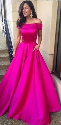 Sexy Fuchsia Off Shoulder Satin A Line Prom Dress, Formal Gown With Pockets · lovingdress · Online Store Powered by Storenvy