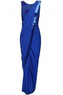 Cobalt blue pre stitched sari with bead and dabka embroidered attached blouse