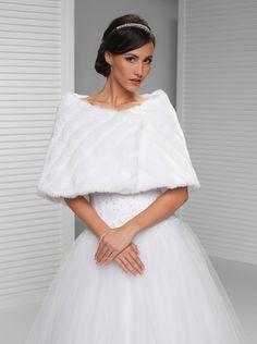 Winter Bridal Wrap Warm Faux Fur Bolero Wedding Wrap White Black Ivory