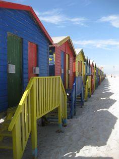 Beach huts on Muizenberg Beach, Cape Town, South Africa. Memories.