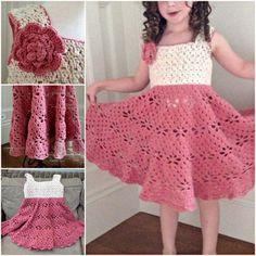 Little-Girls-Vintage-Crochet-Dress-wonderfuldiy #VintageCrochetPatterns