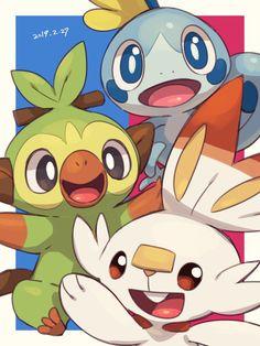 Scorbunny, Sobble and Grookey. Pokemon Sword and Pokemon Shield. Pokemon Mew, Pikachu, Pokemon Fan Art, Fanart Pokemon, Pokemon Tattoo, Pokemon Funny, Pokemon Stuff, Pokemon Fusion, Pokemon Cards
