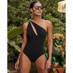 Shan One-Shoulder Slash Solid One-Piece Swimsuit ($270) ❤ liked on Polyvore featuring swimwear, one-piece swimsuits, shan, one shoulder bathing suit, one shoulder one piece swimsuit and 1 piece bathing suits