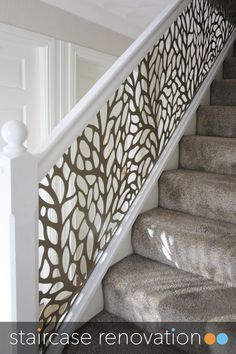 Home Stairs Design, Interior Stairs, Home Room Design, Interior Design Living Room, House Design, Wallpaper Staircase, Stair Renovation, Staircase Makeover, Hallway Designs