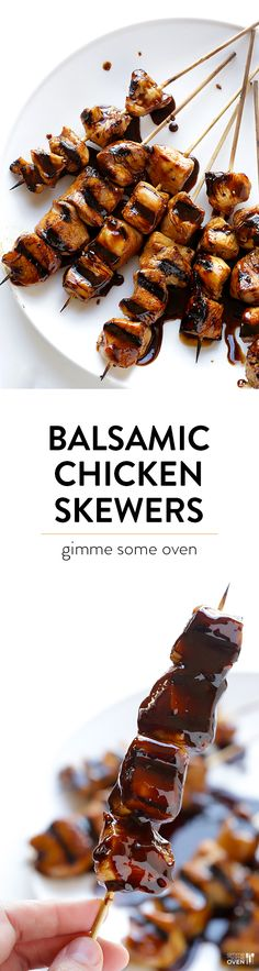 Easy Balsamic Chicken Skewers -- made with just 4 ingredients, and so delicious!! | gimmesomeoven.com