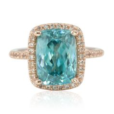 Halo Engagement Ring with Cushion Cut Blue Zircon in Rose Gold - LS4561