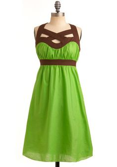 green and brown dress