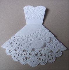 """Doily folding into wedding dress! Love this idea! --wish it wasn't glued together so it could be opened with wedding details inside"" We love this! and having the wedding details inside would be perfect! Wedding Cards, Diy Wedding, Dream Wedding, Wedding Invitations, Wedding Favors, Wedding Dress, Wedding Bride, Wedding Venues, Invitations Online"