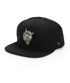 df3eebf3e1a Cop a fiendish new look for your hat game with a camo print devil face  embroidered