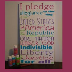 Pledge of Allegiance Art.  #Create2Educate #Sweepstakes. Enter your own project for a chance to win a $50 gift card to Michaels.   Learn more:  #Create2Educate #Sweepstakes. Enter your own project for a chance to win a $50 gift card to Michaels. Learn more: