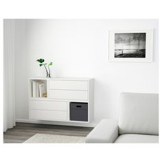EKET Wall-mounted cabinet combination - white - IKEA/ this would be perfect- off the floor and provides storage. Entrada Ikea, Ikea Eket, Ikea Wall, Flexible Furniture, Painted Drawers, Ideas Para Organizar, White Light, White White, Light Blue