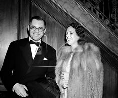 """Mary Astor arrives in Manhattan March 1, 1939 to attend the New York Premiere of """"Mikado"""" is seen chatting with Publisher Bennett Cerf. (AP Photo) Bennett Cerf, Mary Astor, Man About Town, Manhattan, The Man, March, Handsome, York, Fashion"""