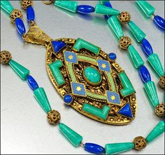 Art Deco Czech Enamel Peking Glass Necklace Egyptian Gold Vintage 1920s Jewelry