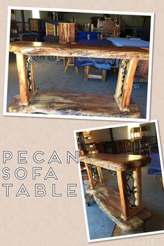Sofa table handmade from Texas Hill Country Furniture in Lipan, tx
