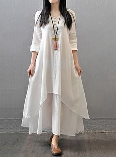 Top Fashion Autumn Women Casual Loose Long Sleeve Dress Cotton Linen Solid Long Maxi Dress Vestidos Plus Size - White, XXXL Love it? Yellow Dress Casual, Casual Dresses, Cheap Dresses, Elegant Dresses, Casual Outfits, Long Sleeve Maxi, Maxi Dress With Sleeves, Sleeved Dress, Plain Dress