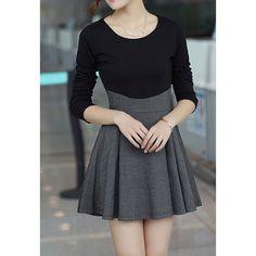 Scoop Neck Color Matching Pleated Women's Long Sleeve DressLong Sleeve Dresses | RoseGal.com