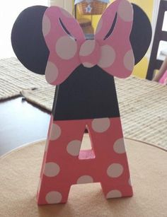 Minnie Mouse inspired paper mache monogram - party decor