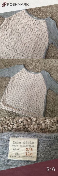 Zara Girls Lace Top Perfect girls Zara shirt. Great quality and good condition. This shirt ran slightly small. Bundle with my other items and save  Zara Shirts & Tops Tees - Long Sleeve