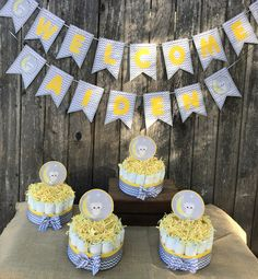 Custom Diaper Cake Center Pieces And Banners Party Package/ Baby Shower Decoration/ Gender Reveal Decor by VOCrafted on Etsy https://www.etsy.com/listing/565789131/custom-diaper-cake-center-pieces-and