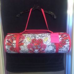 """Betsey Johnson Beach Mat Betsey Johnson Beach Mat Skulls Print Provides comfort, style and is lightweight  LShoulder strap for easy carry! Betsey Johnson beach mat with detachable roll pillow in signature style skull motif. These mats are comfy and feel fabulous already took mine to the beach so much nicer than plain beach towel and no having to make a sand pillow. Great for the beach, pool or park Color: Muticolor Size: 61X168 cm.   24"""" X 66"""" Guaranteed 100% Authentic Condition: New…"""