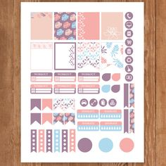 Pastel Leaf Planner Stickers Printable Erin by PrintThemAllStudio