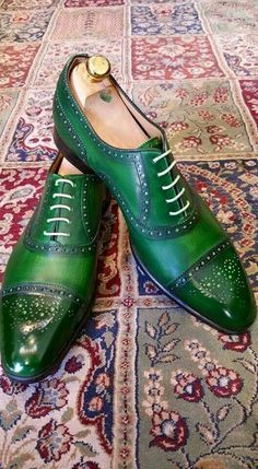 Men Green Burnished Brogues Cap Toe Oxford Lace Up Genuine Leather Shoes US - Dress/Formal High Ankle Boots, Shoe Boots, High Heels, Oxford Brogues, Oxford Shoes, Cowboy Shoes, Sneaker Store, Herren Style, Suede Leather Shoes