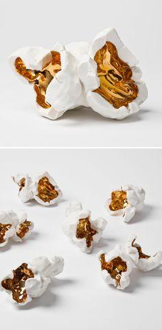 Pae White - porcelain popcorn with gold glaze
