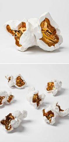 Porcelain popcorn, with gold glaze. sculptures by LA based artist Pae White.