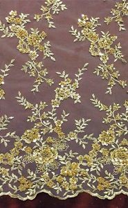 "Gold Mesh w Gold Metallic Embroidery Beads Sequins Bridal Lace Fabric 52"" 1 Yd 