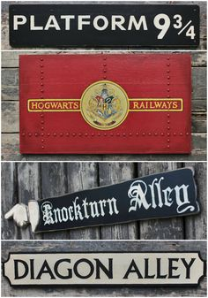 Look what I've found, Harry Potter fans! More Harry Potter signs though this time they aren't posters but they are real, handcrafted wooden signs.