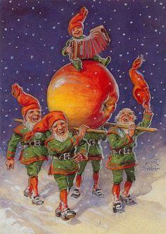 antique vintage post card christmas printable picture decor elf elves