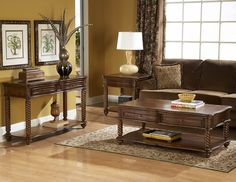 Trammel Brown Mahogany Wood Coffee Table Set