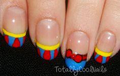 Snow white nails @Katie Schmeltzer Schmeltzer Schmeltzer Glick these would be perfect for princess runs!