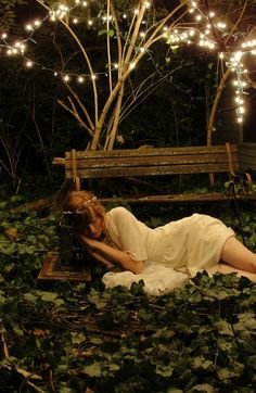We have an old bench similar to that. I think I could get hold of fairy lights. All I need is a white dress.