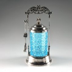 Pressed Glass Pickle Jar with Silver Plated Holder
