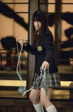 "As the ball and chain-wielding schoolgirl bodyguard of O-Ren Ishii (Lucy Liu), Gogo Yubari (Chiaki Kuriyama, pictured here) is not someone whose lunch money you should steal as she's seen here in ""Kill Bill. Quentin Tarantino, Tarantino Films, Jackie Brown, Uma Thurman, Tilda Swinton, Rupaul, Pulp Fiction, Kill Bill Costume, Kill Bill Movie"