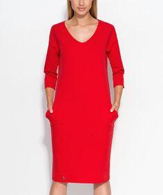 Look what I found on #zulily! Red Pocket Shift Dress #zulilyfinds