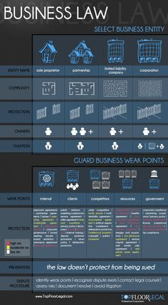 Infographic about different business entities and the risks and challenges involved with each.